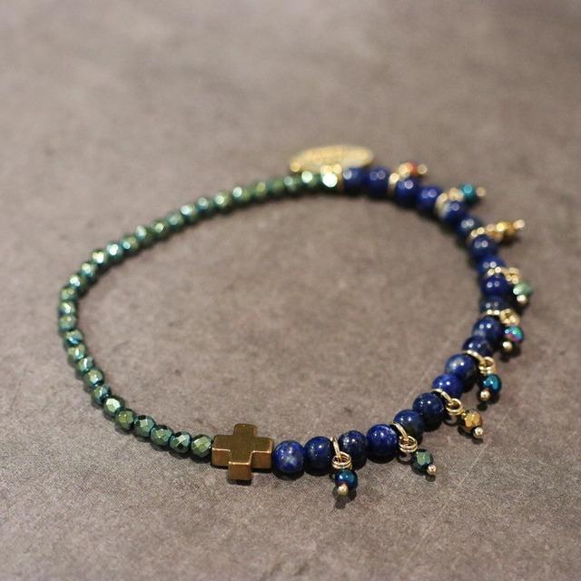 【COSMIC BLUE】ラピスラズリ×ライトブルーヘマタイト 〈ハーフフリンジ〉ブレスレット