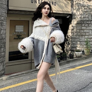 【トップス】セクシー設計感ありカジュアル切り替えレトロファッションセーター52903989