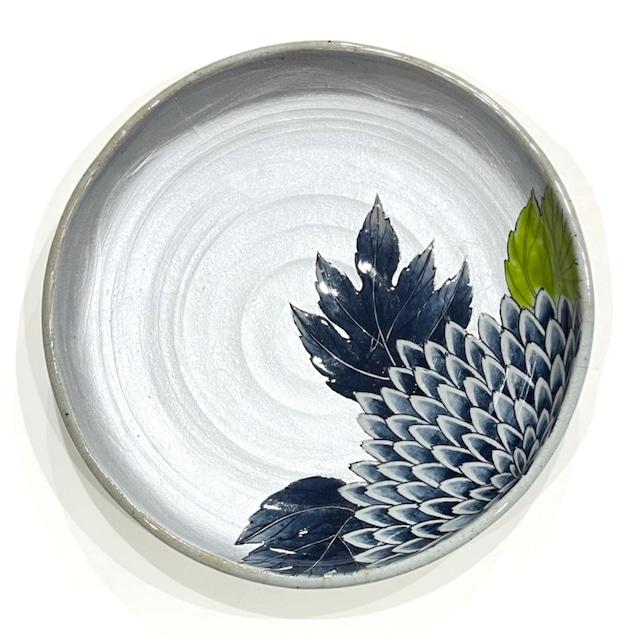 銀彩 菊  9.5寸手作りプレート 土物《房空路》