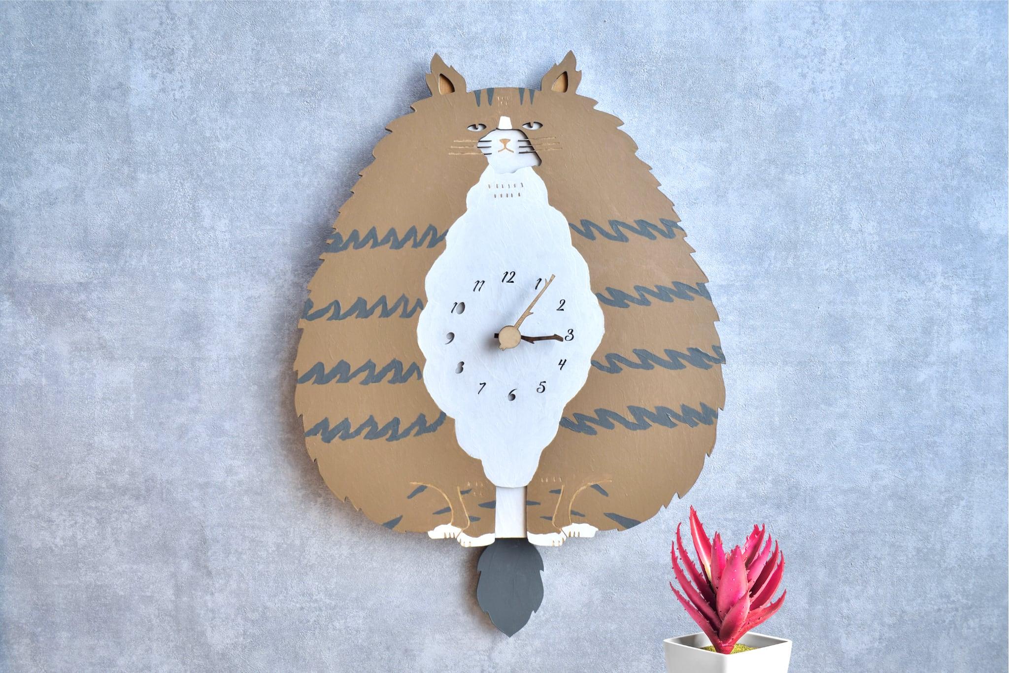 ノルウェージャン・フォレスト・キャット*ビッグサイズの時計 木製 振り子時計 掛け時計