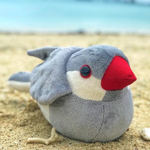 (新サイトにて販売中)抱き文鳥ぬいぐるみ シルバー文鳥
