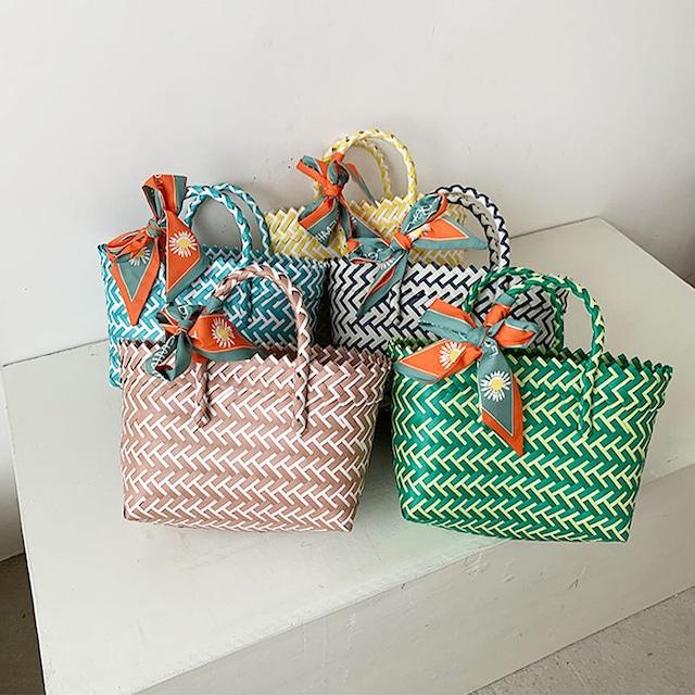 メルカドバッグ | 手編み プラスチック リゾート かご 小さいバッグ カラフル