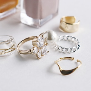 SET RINGS || 【通常商品】 EARLY SPRING CLEAR RING SET A || 5 RINGS || MIX || FBA068