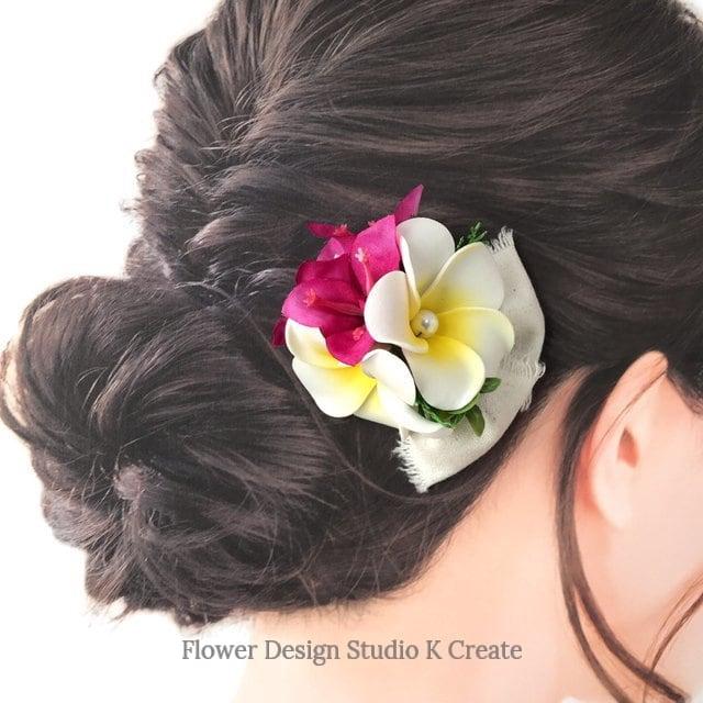 プルメリアとブーゲンビリアのヘアクリップ 髪飾り トロピカルフラワー 南国 フラ フラダンス