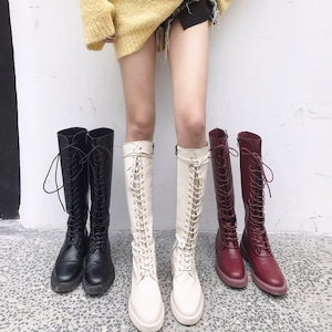 lace up long boots