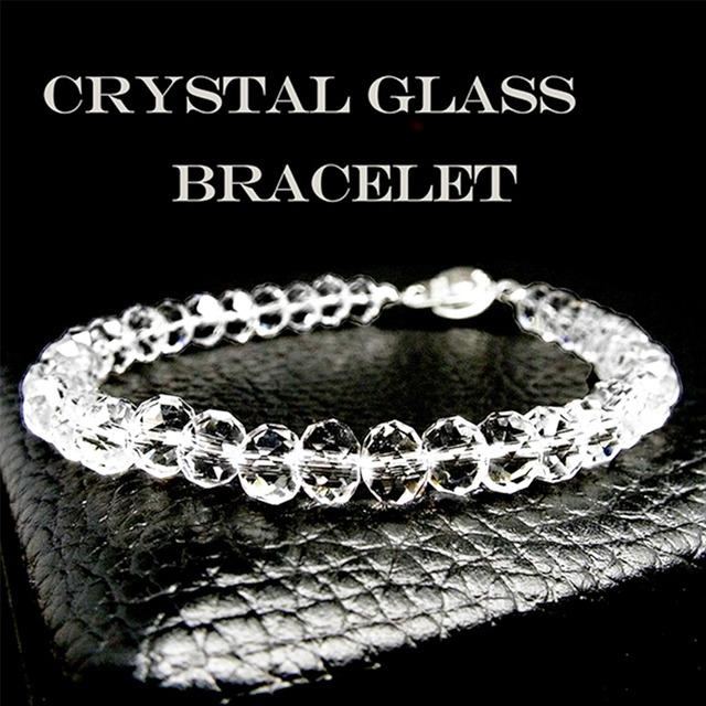 【自然な輝きと存在感】クリスタルガラス ボタンカット ブレスレット for men(6mm、8mm)