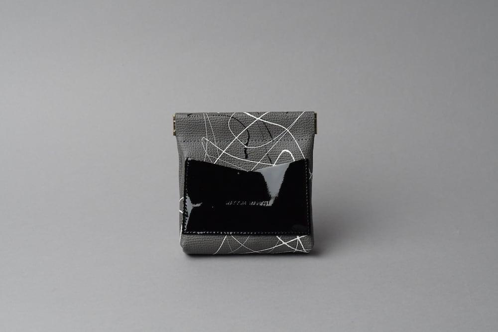 ワンタッチ・コインケース ■drip type ダークグレー・エナメルブラック■ - 画像1