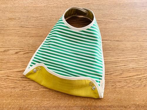 布製お食事スタイ cottonグリーンストライプ・リバーシブル