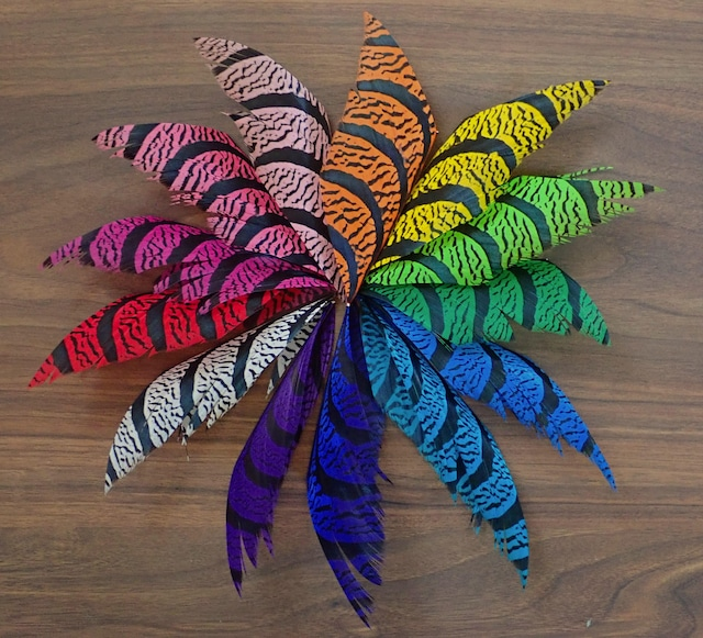 Lady Amherst Pheasant Center Tail 4inch / 10cm x 13 color COMB