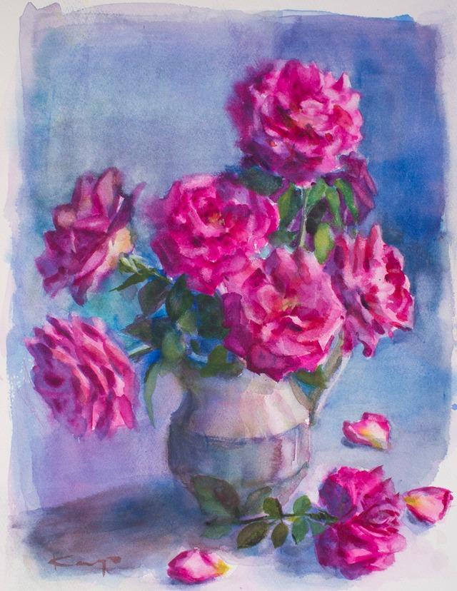 NO.153「青に包まれる薔薇」