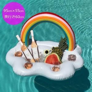 予約 浮き輪 レインボーフロート ドリンクホルダー ドリンクフロート 虹 雲 プール インスタ映え プール 海 パーティー ナイトプール ビーチ 飲み物 オシャレ おしゃれ うきわ 撮影小物 m907