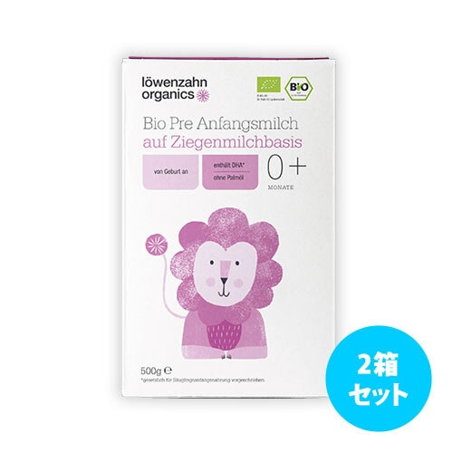[2箱セット] Loewenzahn Organics ビオ山羊乳ベースの粉ミルク 500g(月年齢: 0+ と 6+)