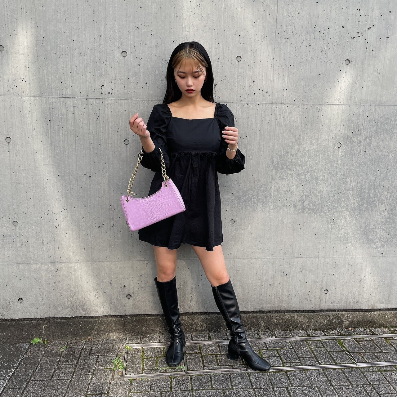 【Belle】baby back ribbon onepiece / black