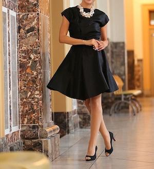 Flare Satin Little Black Dress