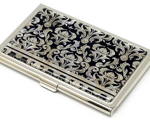 天然貝 名刺カードケース(ダマスク模様)シェル・螺鈿アート