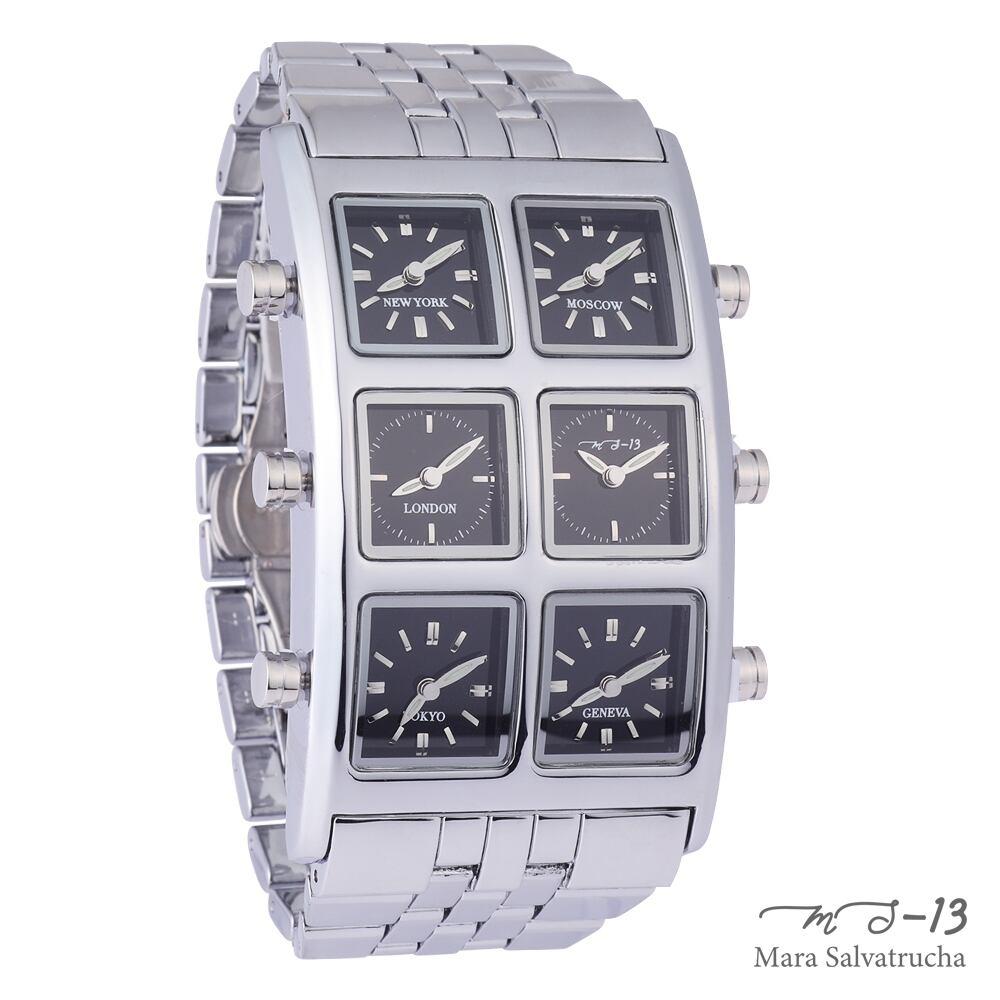 [世界限定100本]【MS-13】腕時計 6TIME ZONE シックスタイムゾーン (カラー:シルバー×ブラック)