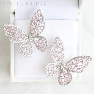 キュービックジルコニア ウェディングピアス Papillon - パピヨン I <ピンク>