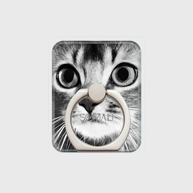 ソマリ おしゃれな猫スマホリング【IMPACT -shirokuro- 】