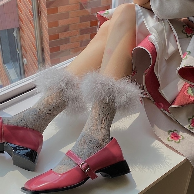 fur lace middle length socks 6c's