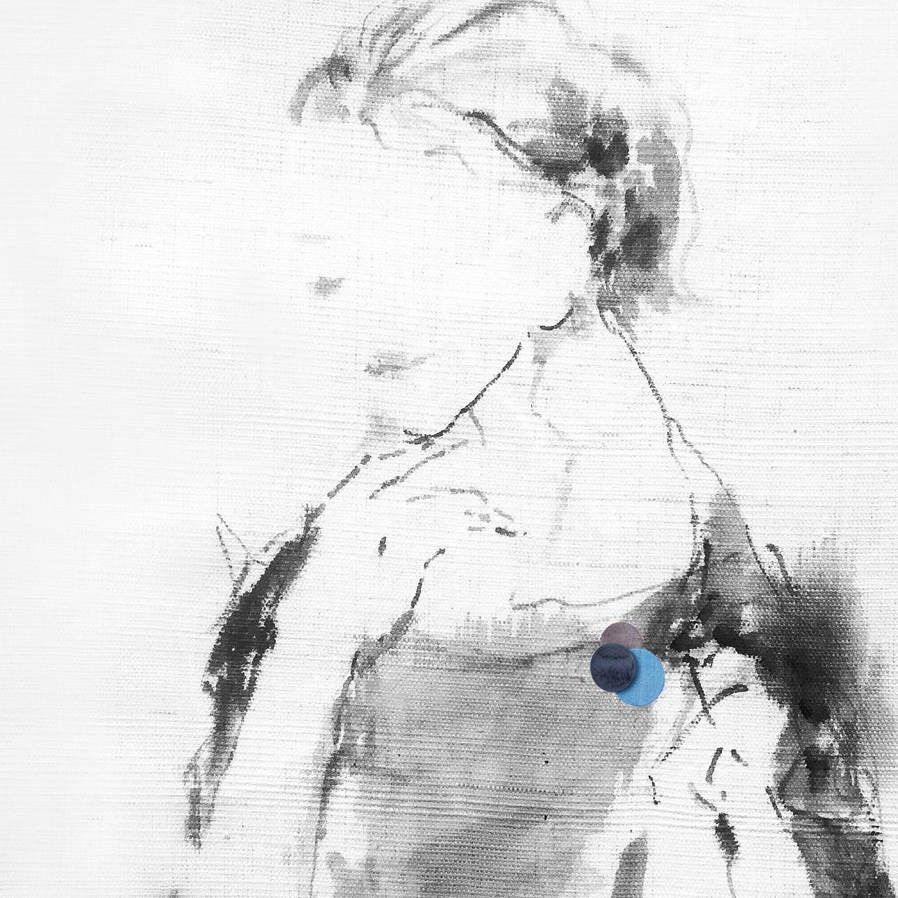 どんなお洋服にも似合う!シンプルフォルム 陶&麻のブローチ〈 Dots 〉ブルー