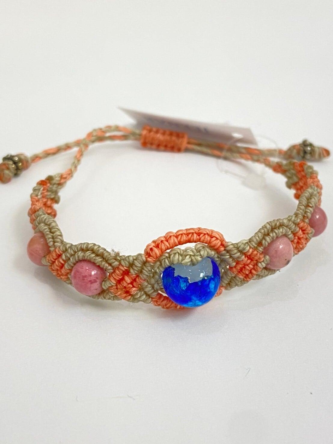 【JEENAR】ホワイトホタルガラス/マクラメ編みブレスレット(BRW-70)