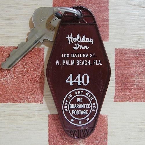 アメリカ Holiday Inn[ホリデイ・イン]フロリダ州 440ルームタグ&キー付ホルダー(エンジ色)