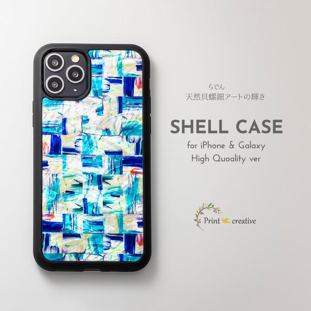 天然貝シェル★ミネラルブルー(iPhone/Galaxyハイクオリティケース)|螺鈿アート|iPhone12対応