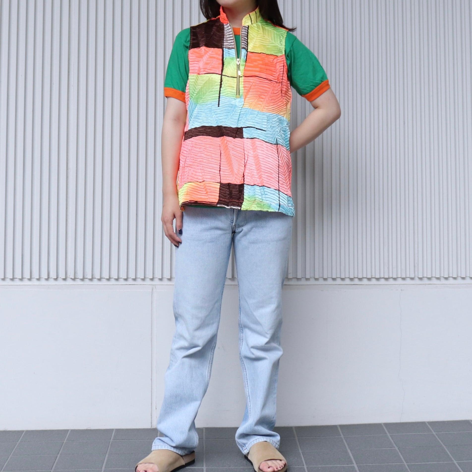 レディース 90年代 デッドストック ネオンカラー サイクルシャツ M