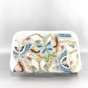 お財布バッグ174白蝶柄ビーズ刺繍