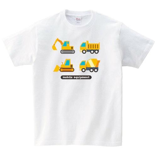 ショベルカー ブルドーザー Tシャツ イラスト 工事 白 プレゼント 大きいサイズ 綿100% 160 S M L XL