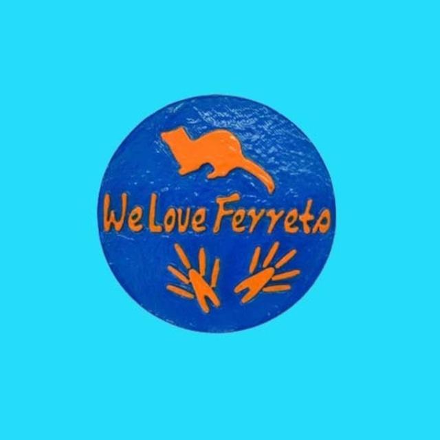 We Love Ferrets マグネットステッカー ② キャスト製(直径80mm)(ブルー・文字:オレンジ)送料込み