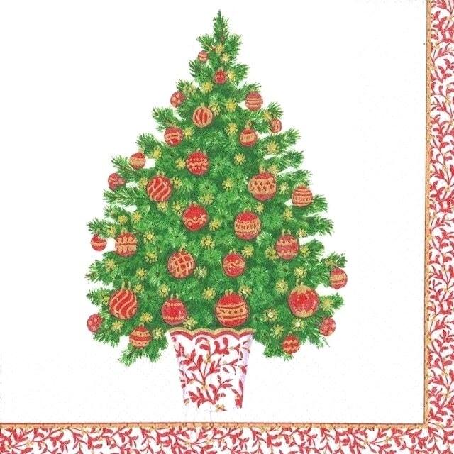 【Caspari】バラ売り1枚 ランチサイズ ペーパーナプキン DECORATED TREE ホワイト