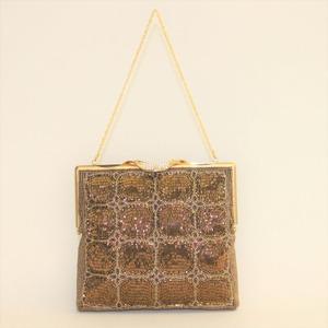 ビーズ刺繡 ハンドバッグ (茶)