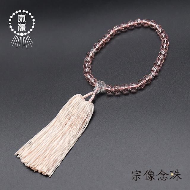 【上チェコガラス(ピンク)】31玉 │ 水晶仕立 │ 正絹切房 │ 女性用略式念珠