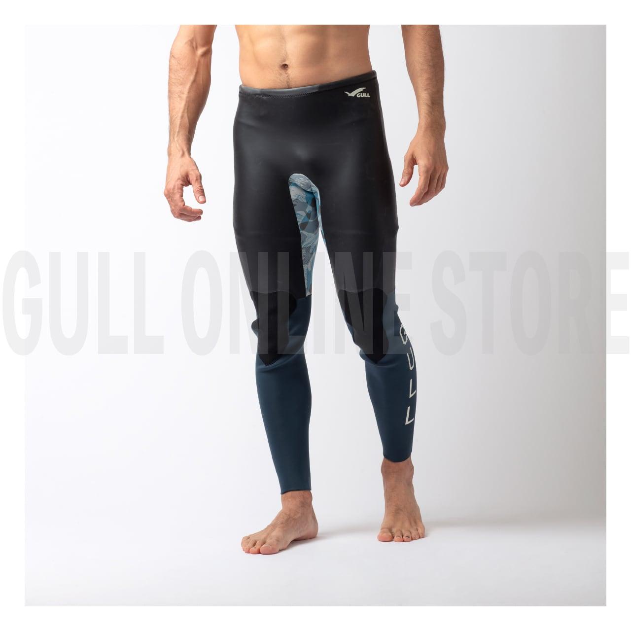 2mmスキンロングパンツ メンズ -ブラック×ブルーサファリカモ- [BSFR] GULL ガル ウエットスーツ