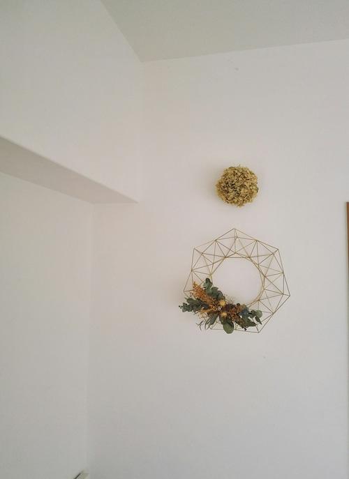 1年中飾れる真鍮製ヒンメリ リース *お花付き*Mサイズ(25cm)【受注制作品】