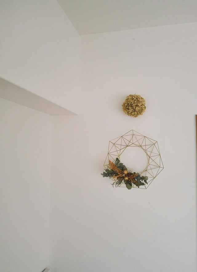 1年中飾れる真鍮製のヒンメリリース*お花付き*Lサイズ(33cm)<受注制作品>
