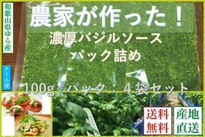 【お得なお買物】【和歌山県産】バジルソース(パック詰/100g)【4袋セット】 【送料無料】