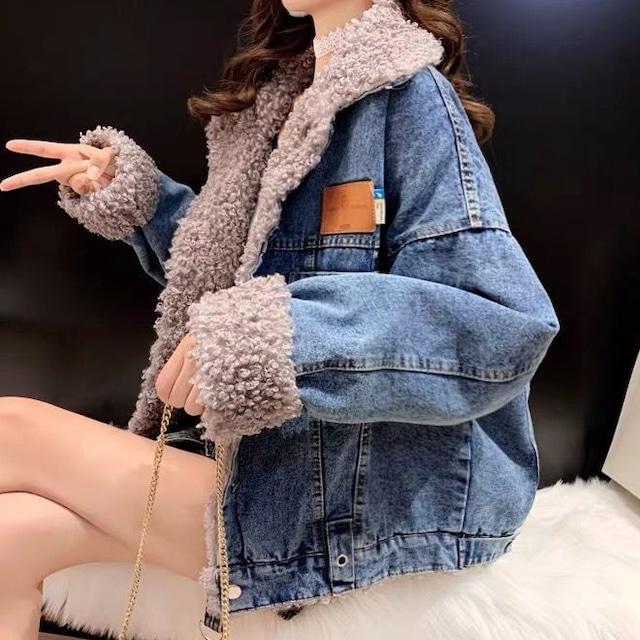【アウター】ins人気高い韓国風 裏起毛 折り襟 長袖 ショート丈 レディースジャケット53957015