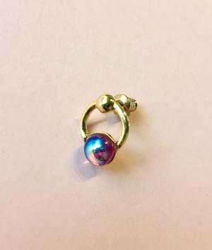Vintage glass Ring Earring #1785 gold 片耳 ヴィンテージガラスリングピアス/ゴールド