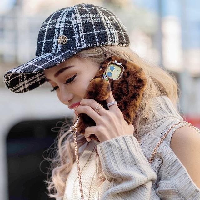 ポケット付ふわもこハンドル&チェーンiPhoneケース (L19119-162)