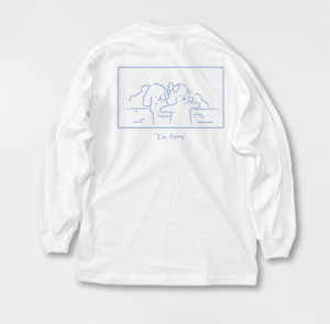 """I'm flying"" Long t-shirt Blue line"