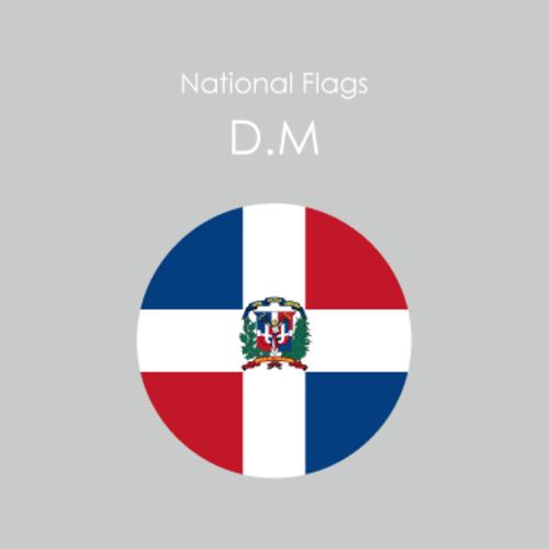 円形国旗ステッカー「ドミニカ共和国」