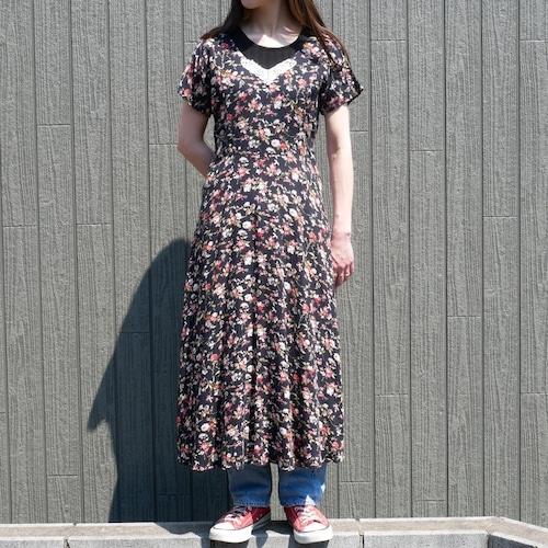 【USED】花柄 レーヨン ワンピース 半袖 肩落ち