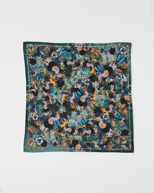 華と蝶欧風ブルーグリーン 華蝶風呂敷スカーフ