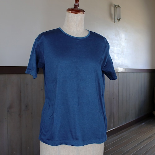 藍染無地TシャツL(as84)
