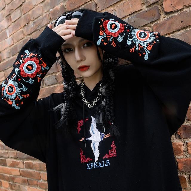 2color チャイナ風パーカー フード付き カップル服 男女兼用 ゆったり 重工刺繍入り S M L LL 黒 白