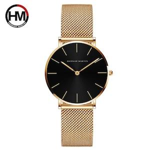 クォーツムーブメント防水ブルーレディース腕時計ステンレス鋼バンドシンプルなデザインのクラシック腕時計女性CH36-WJJ