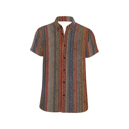 家紋ストライプブルーレッド ユニセックス半袖シャツ