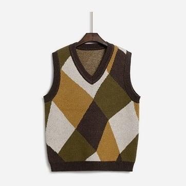 Retro jacquard knit vest( レトロジャガードニットベスト)b-485